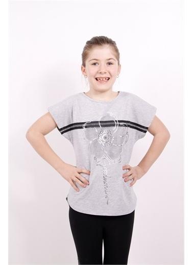 Toontoy Toontoy Kız Çocuk Çiçek Şeritli Tişört Gri